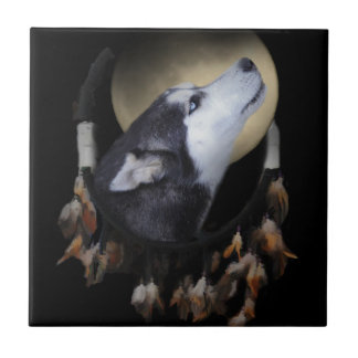 Dream catcher and blue eyed Husky Small Square Tile