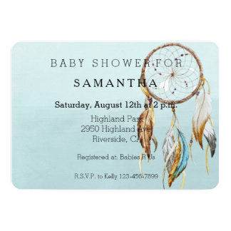 Dream Catcher baby shower 13 Cm X 18 Cm Invitation Card
