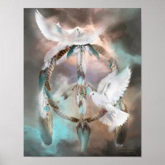 Dream Catcher - Dreams Of Peace Art Poster/Print Poster