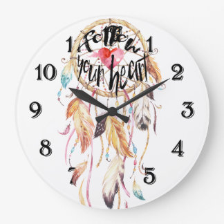 Dream Catcher Follow your heart Large Clock