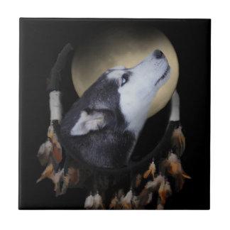 Dream Catcher Husky Art Tile