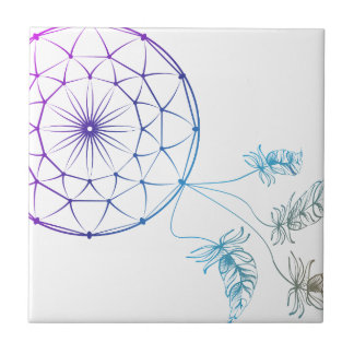 dream catcher on white background small square tile