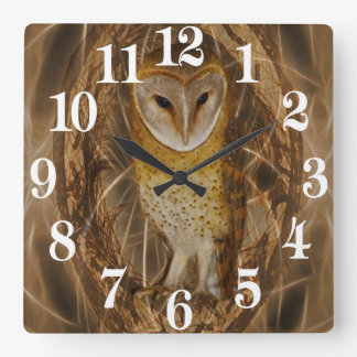 Dream catcher owl square wall clock