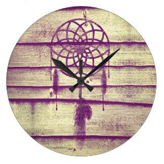 Dream Catcher Purple Wood Clock