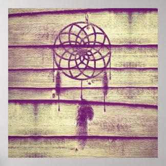 Dream Catcher Purple Wood Poster