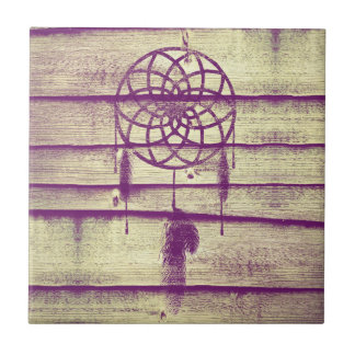Dream Catcher Purple Wood Small Square Tile