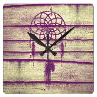 Dream Catcher Purple Wood Wallclock