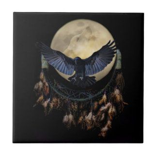 Dream Catcher Raven and Wolf Moon Small Square Tile