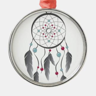 Dream Catcher Silver-Colored Round Decoration