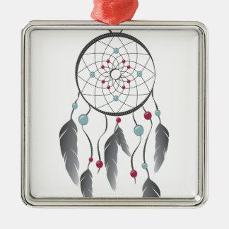Dream Catcher Silver-Colored Square Decoration