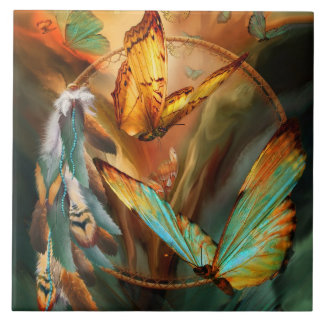 Dream Catcher - Spirit Of The Butterfly Art Tile