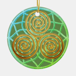 Dream Catcher Triple Spiral Ceramic Ornament