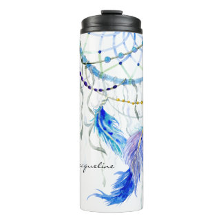 Dream Catcher Watercolor Feathers Lavender Beads Thermal Tumbler