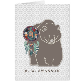 Dream Catcher with Brown Bear Native American Card