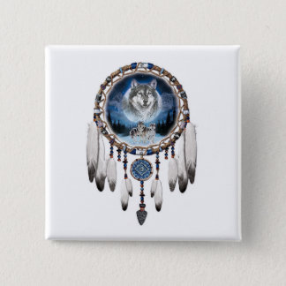 Dream Catcher with wolf background 15 Cm Square Badge