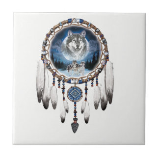 Dream Catcher with wolf background Ceramic Tile