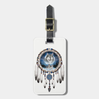 Dream Catcher with wolf background Luggage Tag