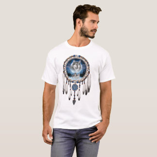 Dream Catcher with wolf background T-Shirt