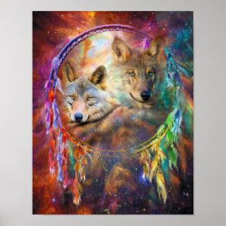 Dream Catcher - Wolf Spirits Art Poster/Print Poster