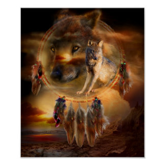 Dream Catcher - WolfLand Art Poster/Print Poster