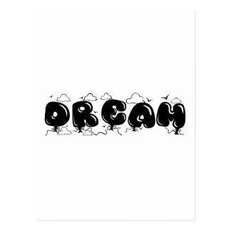 Dream Clouds and Birds Bubble Font Postcard