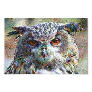 Dream Creatures, Eagle Owl, DeepDream Photo Art