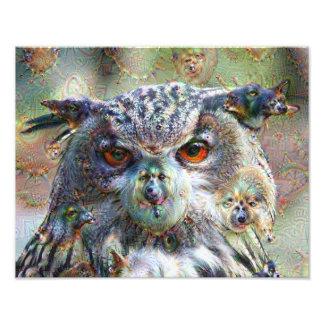 Dream Creatures, Eagle Owl, DeepDream Photograph
