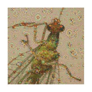 Dream Creatures, Lacewing, DeepDream Wood Canvas
