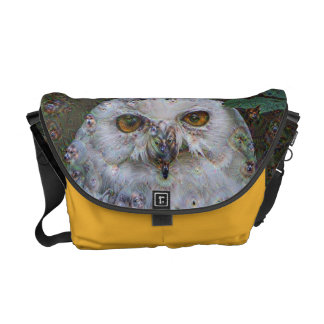 Dream Creatures, Snowy Owl, DeepDream Messenger Bag