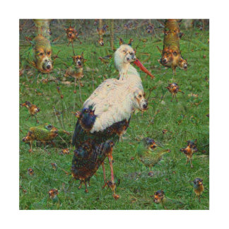 Dream Creatures, Stork, DeepDream Wood Canvas