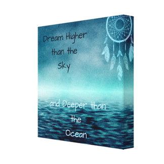 Dream Higher Than the Sky Dream Catcher and Ocean Canvas Print
