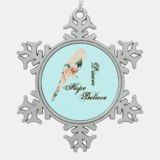 Dream, Hope, Believe Bird Snowflake Pewter Christmas Ornament