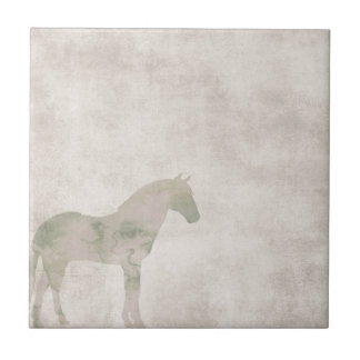 Dream Horse: Watercolor horse on dust brown Small Square Tile