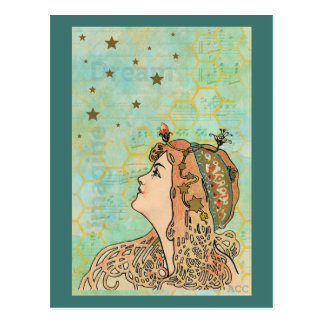 Dream Imagine Stars Woman Postcard