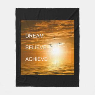 dream it believe it achieve it motivation fleece blanket