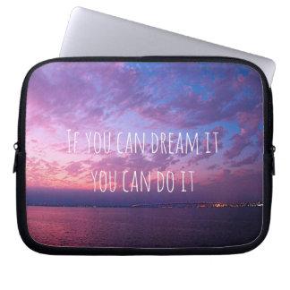 """Dream It Do It"" Quote Purple Ocean Sunset Photo Laptop Sleeve"