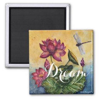 Dream lotus Dragonfly Watercolor Art Magnet