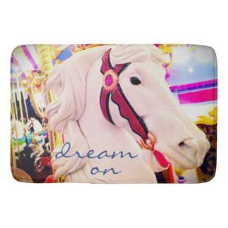 """""""Dream On"""" Quote Cute White Carousel Horse Photo Bath Mat"""