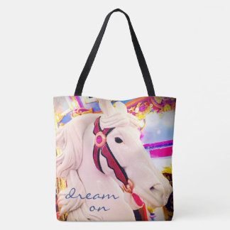"""""""Dream on"""" quote cute white carousel horse photo Tote Bag"""