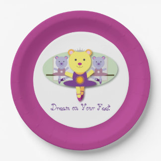 Dream on Your Feet Ballerina Bear Ballet Dancer Paper Plate