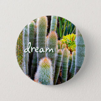 """Dream"" orange-tipped fuzzy green cactus photo 6 Cm Round Badge"