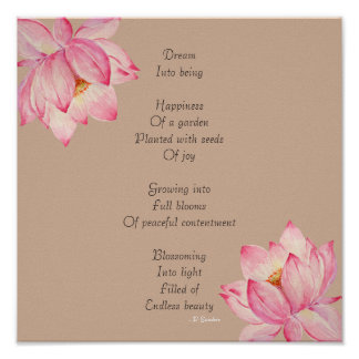Dream Poem with Lotus Flowers Poster