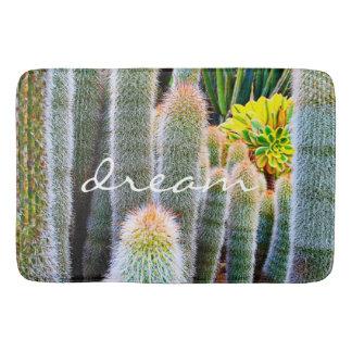 """Dream"" Quote Orange and Green Fuzzy Cacti Photo Bath Mat"
