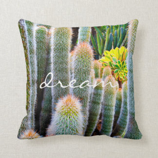 """Dream"" Quote Orange and Green Fuzzy Cacti Photo Cushion"