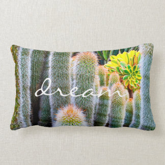 """Dream"" Quote Orange and Green Fuzzy Cacti Photo Lumbar Cushion"