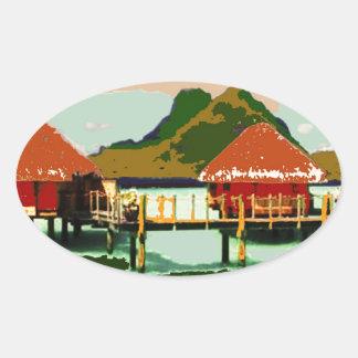 Dream Red Village Cottage Oval Sticker