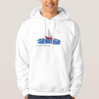 Dream Sail Live Sea Boat Seagulls Sketch Hoodie