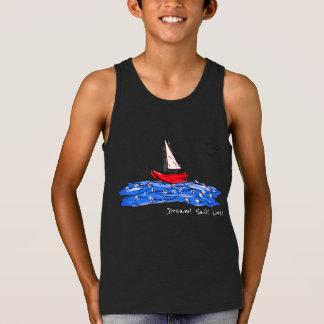 Dream Sail Live Sea Boat Seagulls Sketch Tank Top
