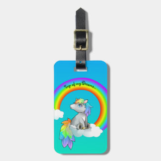 Dream Trip Happy Rainbow Unicorn luggage tag