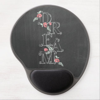 Dream Typography Flowers And Chalkboard Gel Mouse Pad